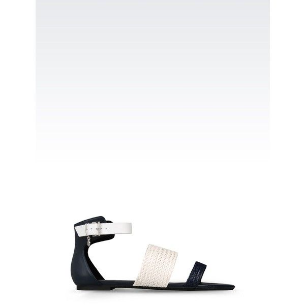 e8c5d7ae80f55 Armani Jeans Flat Sandal (£160) ❤ liked on Polyvore featuring shoes ...