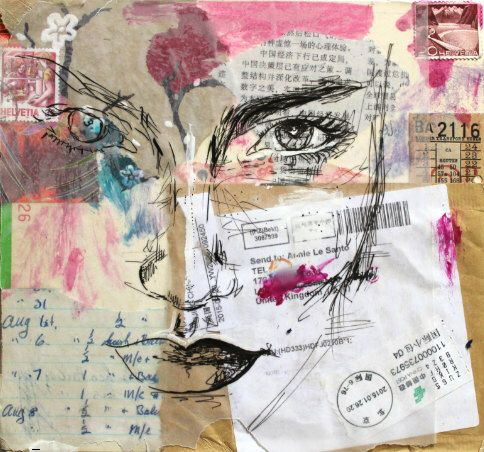 HIGH QUALITY PRINT Mixed Media Collage Pen Drawing Portrait Model ...