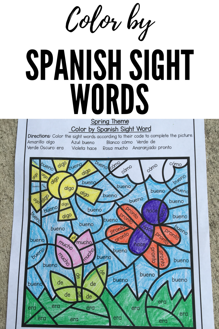 Spring Color by Spanish Sight Words | Pinterest | Spanish activities ...