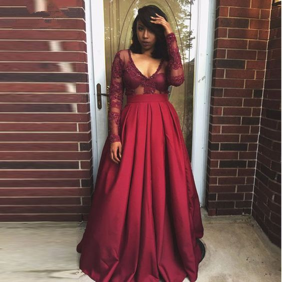Long sleeve lace Red Evening Prom Dresses,Fashion Prom Dress,Sexy Party Dress,Custom Made Evening Dress