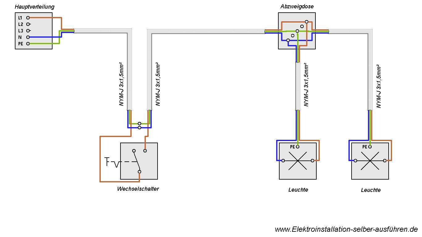 schaltplan einer ausschaltung von zwei lampen elektrische schaltungen f r die hausinstallation. Black Bedroom Furniture Sets. Home Design Ideas