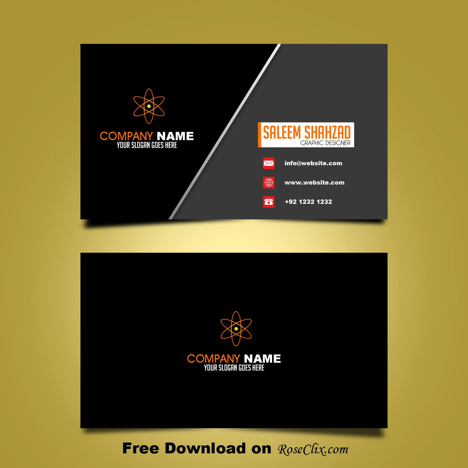 Free business card design template vector shapes psd