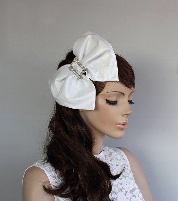 Big Bow Bridal Hair Fascinator Headband OOAK Taffeta Weddings ... 2b82873a84e