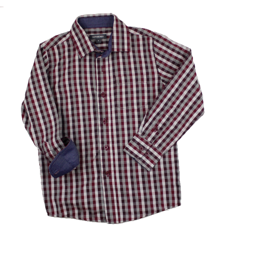 Newberry Boys Burgandy Check Button Down Long Sleeve Shirt Size 6 5 Clothes Boy Outfits Long Sleeve Shirts