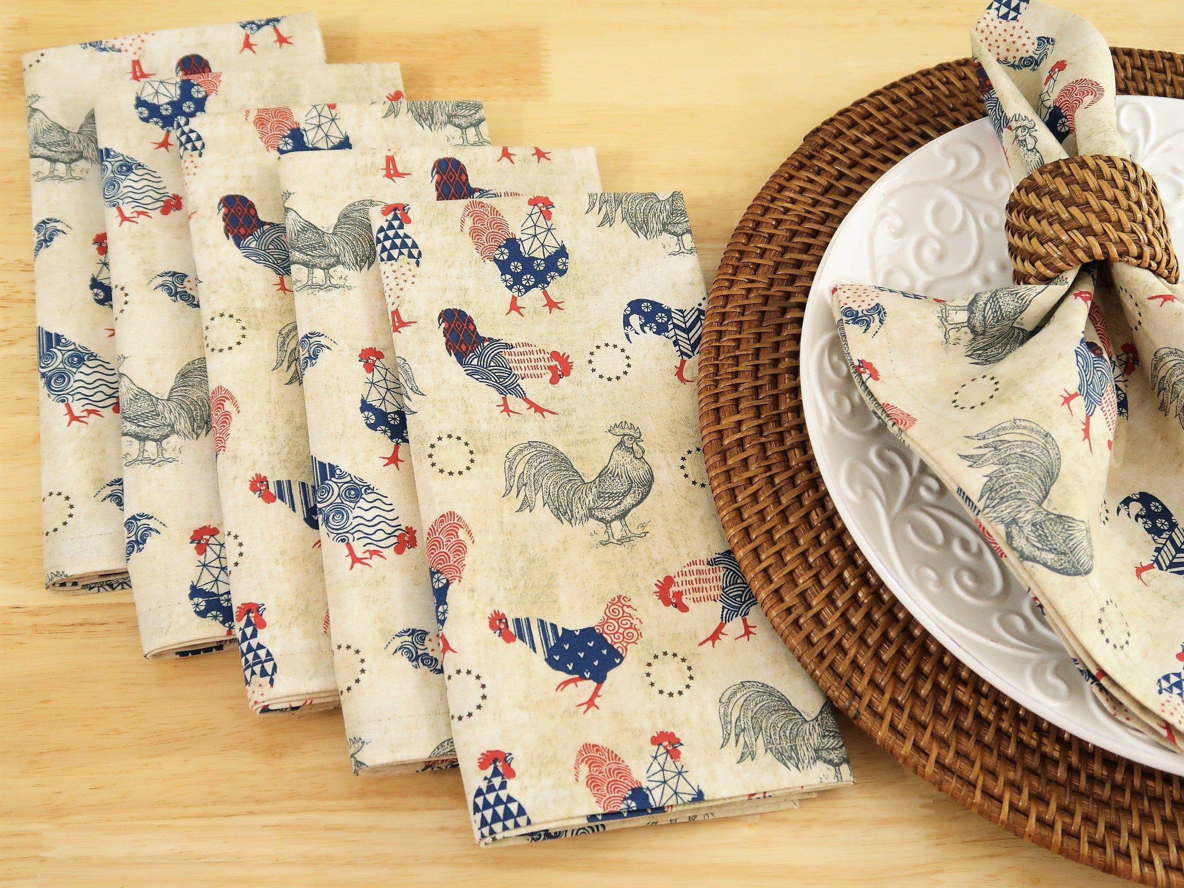 Red and white 6 vintage fabric napkins