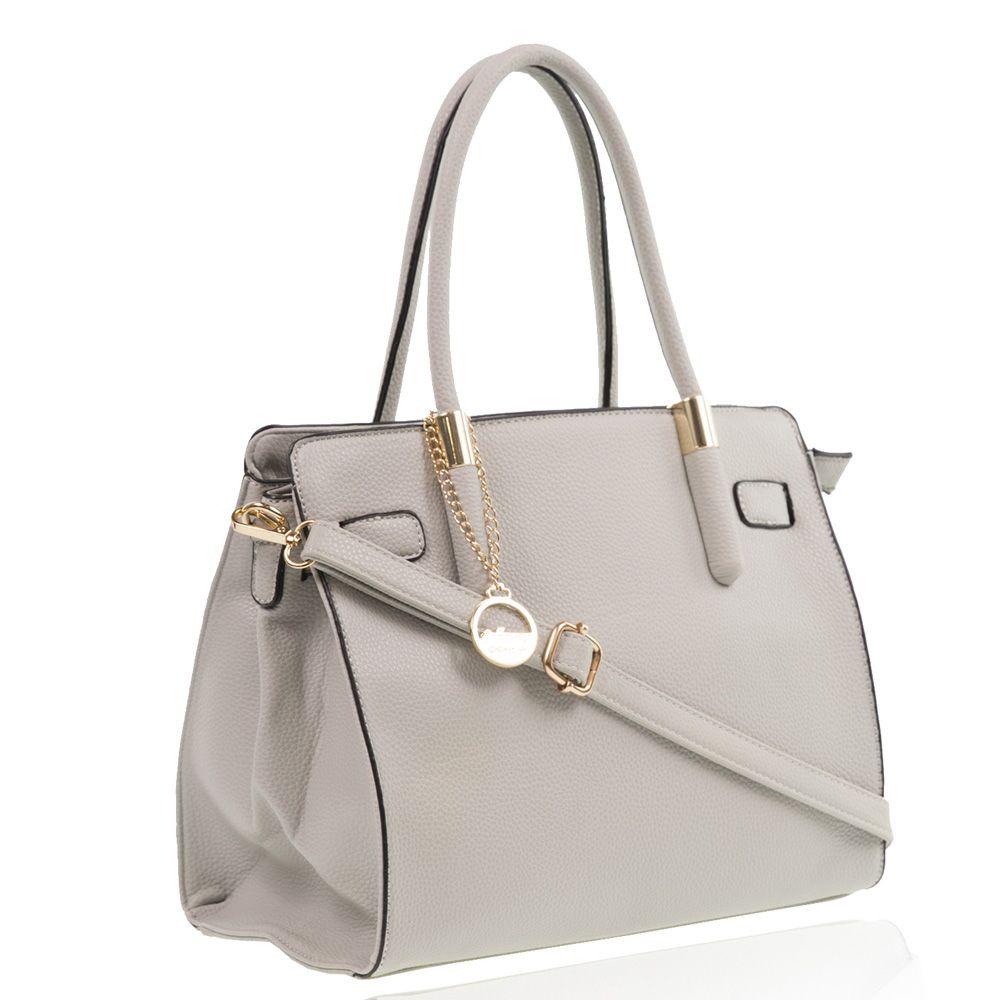 Luxury Designer Vegan Faux Leather Handbags For Las In Grey Colour