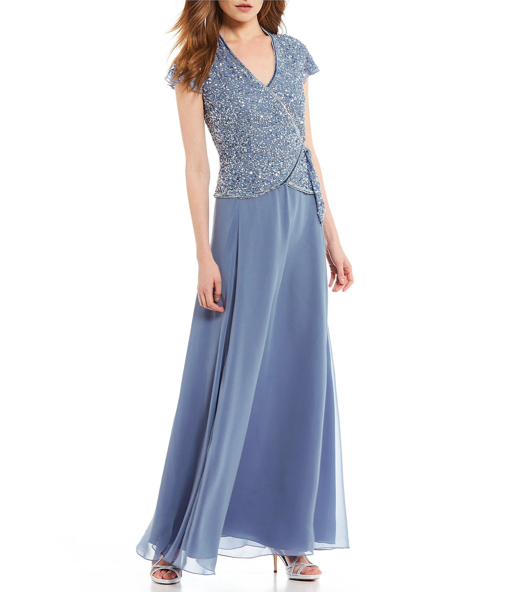 Jkara Sequin Faux Wrap Gown #Dillards | Mother of the bride dresses ...