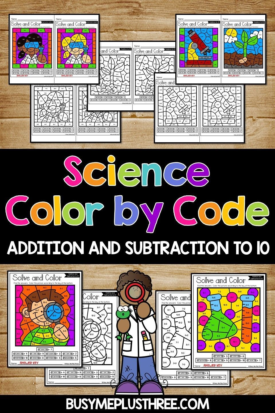 Fun Science Themed Color By Code Math Activity Addition And Subtraction To 10 Addition And Subtraction Fun Classroom Activities Fun Science
