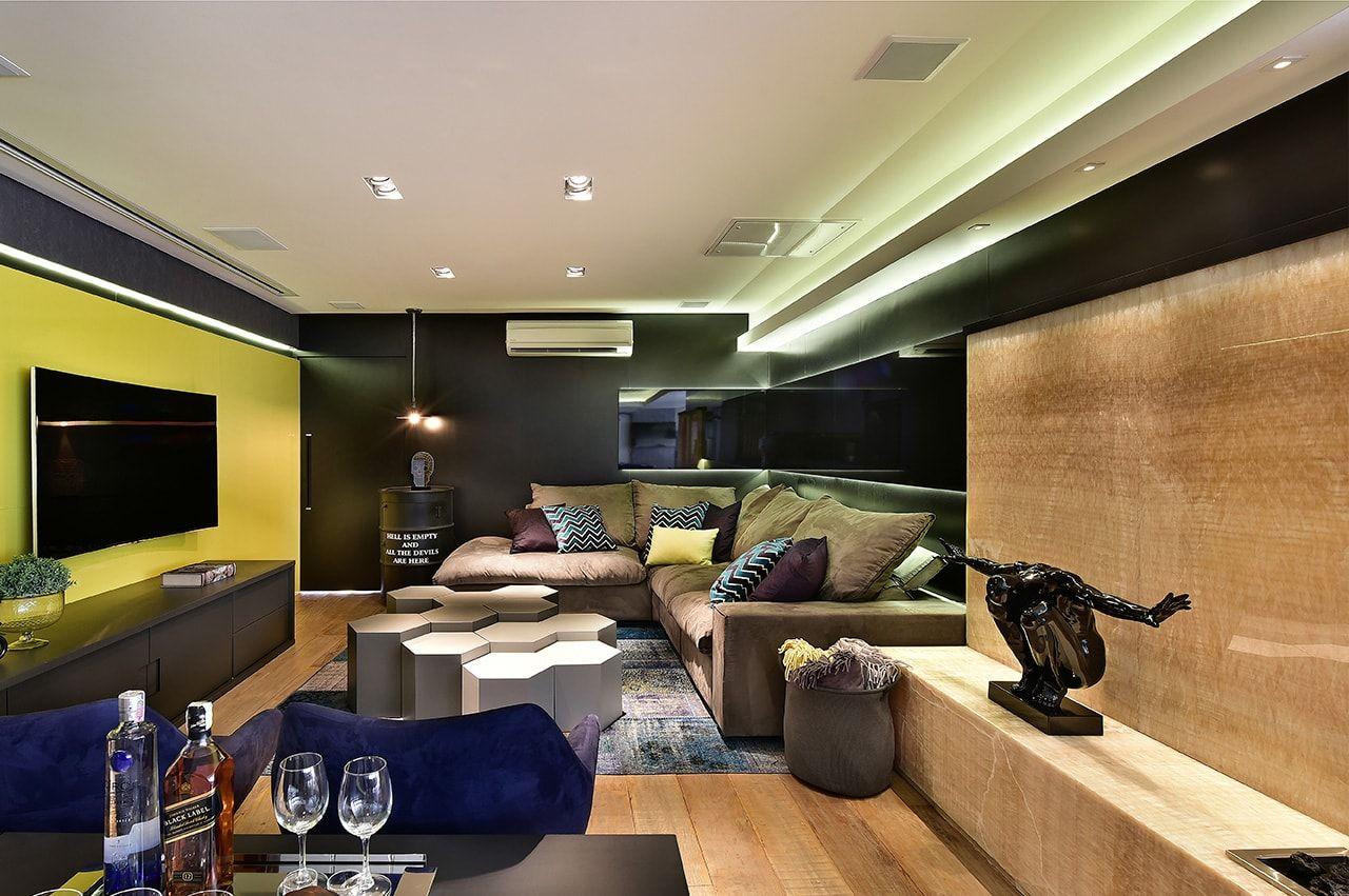 Sala Com Decora O Moderna Parede Preta Lareira Em Pedra Onix  -> Piso Parede Sala
