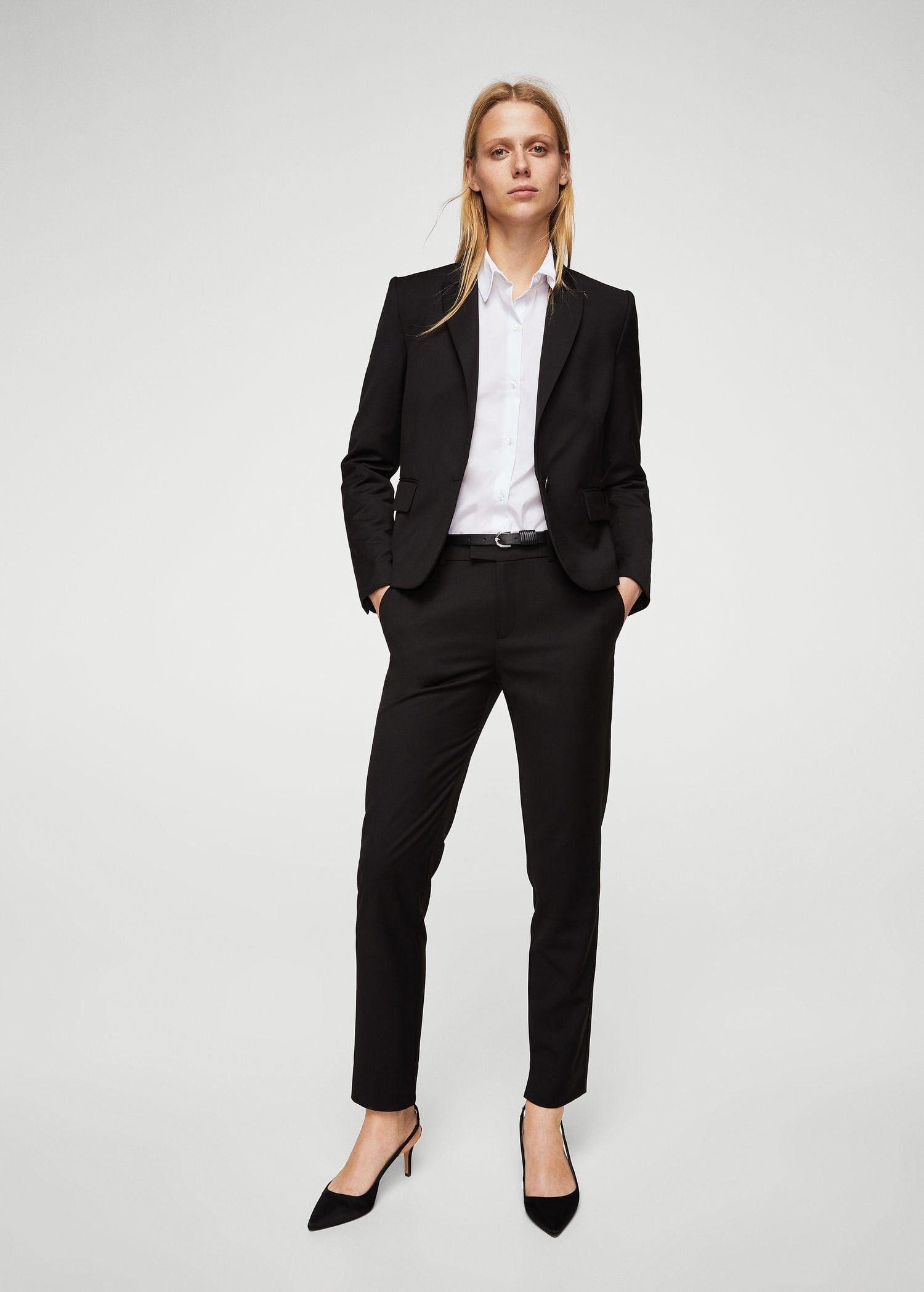 Dark Patterned 10 Blazer Suit Mango Products Women Navy ZfpBTq