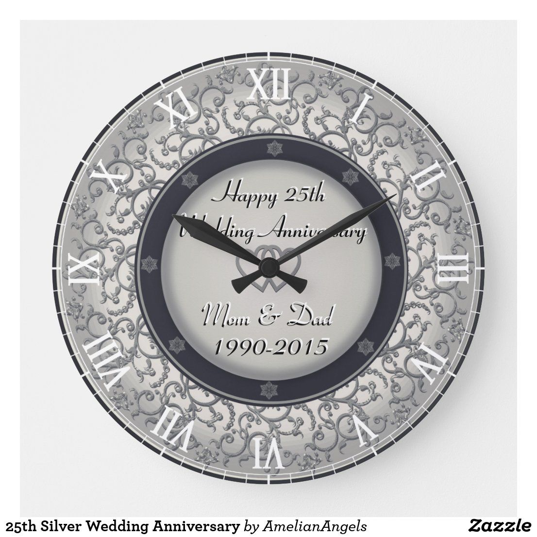 25th Silver Wedding Anniversary Large Clock Zazzle Com In 2020 Silver Wedding Anniversary Silver Wedding Wedding Anniversary