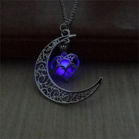 Moon and Star Glow-in-the-dark Pendant Necklace -   20 women's jewelry Necklace stone pendants ideas