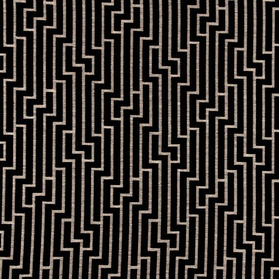 Black And Grey Geometric Velvet Upholstery Fabric For Furniture