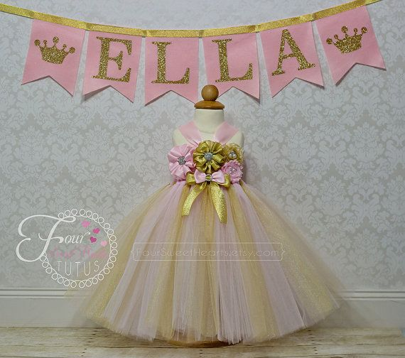 28b90a72e Custom Pink and Gold First Birthday Tutu by FourSweetHeartsTutus Pink And  Gold Dress, Pink Tutu
