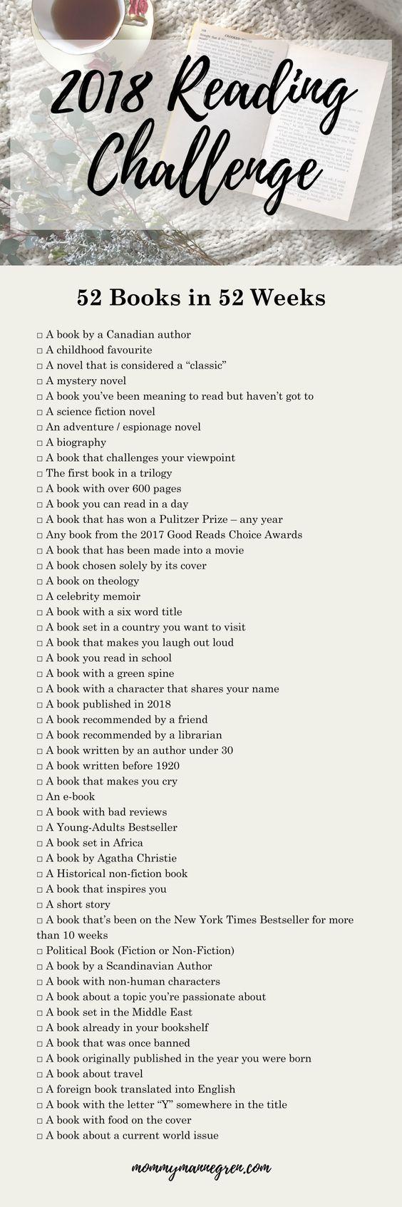 2018 Reading Challenge + FREE PRINTABLE