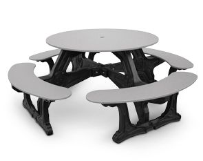 Recycled Plastic Outdoor Picnic Table With Umbrella Hole Round