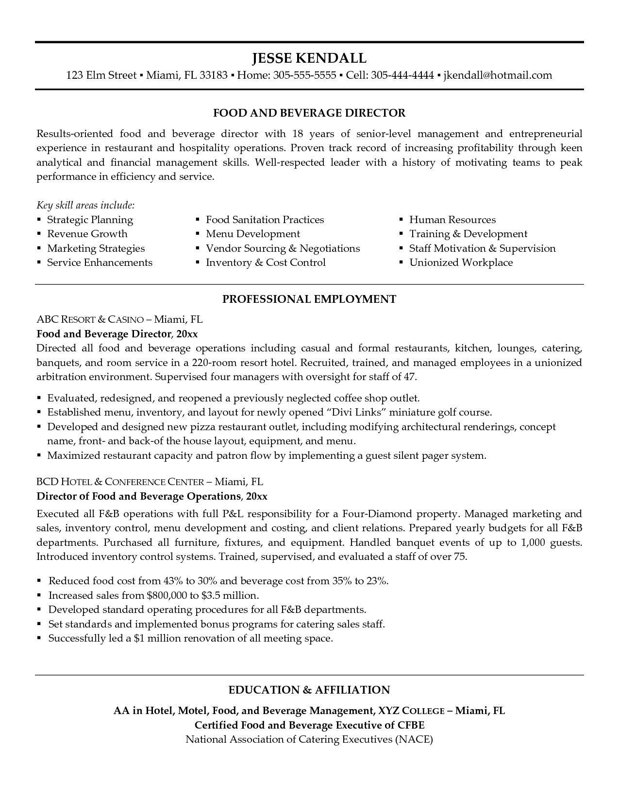 Food And Beverage Manager Resume Modern Food And Beverage Manager Resume Of 35 Interesting Fo Resume Cover Letter Examples Manager Resume Management