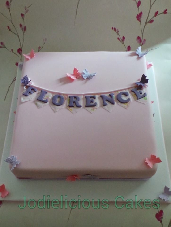 Pink & Purple Christening fruit cake