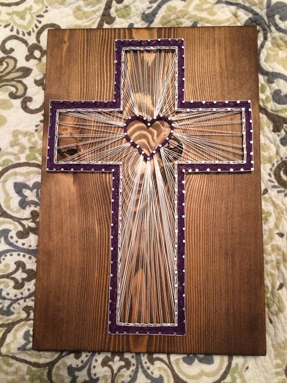 This Is A Beautiful Cross With Heart In The Center Size 9 By 15 You May Choose Wood Stain Dark Brown Light Gray White