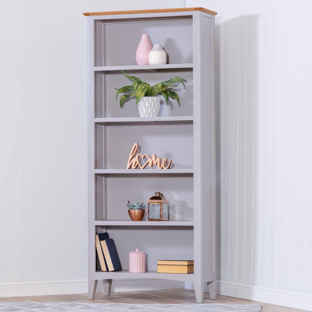 Malvern Shaker Grey Painted Oak Large Bookcase In 2020 Large