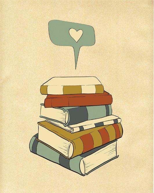 Reading Print Art I READ Digital Illustration, Books Love Poster ...