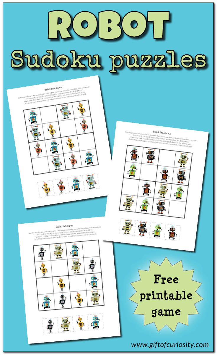 Robot Sudoku Puzzles Free Printables Sudoku Printable Activities For Kids Puzzles For Kids