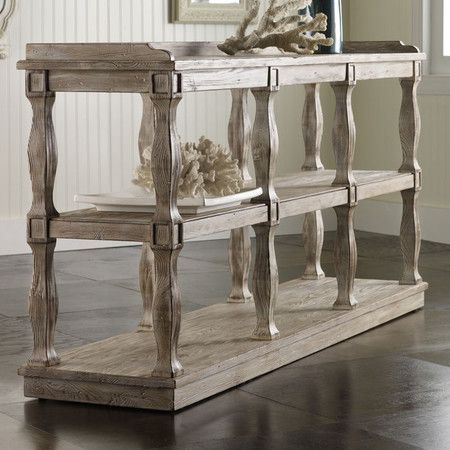 Distressed Pine Console Table With Balustrade Style Legs And Three Open  Display Shelves. Product