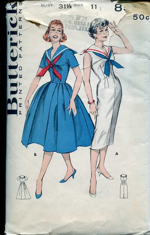 Butterick 8595 | Sailor dress, Collar dress and Vintage sewing patterns