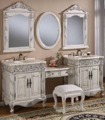 Double Bathroom Vanity With Makeup Station For The Home
