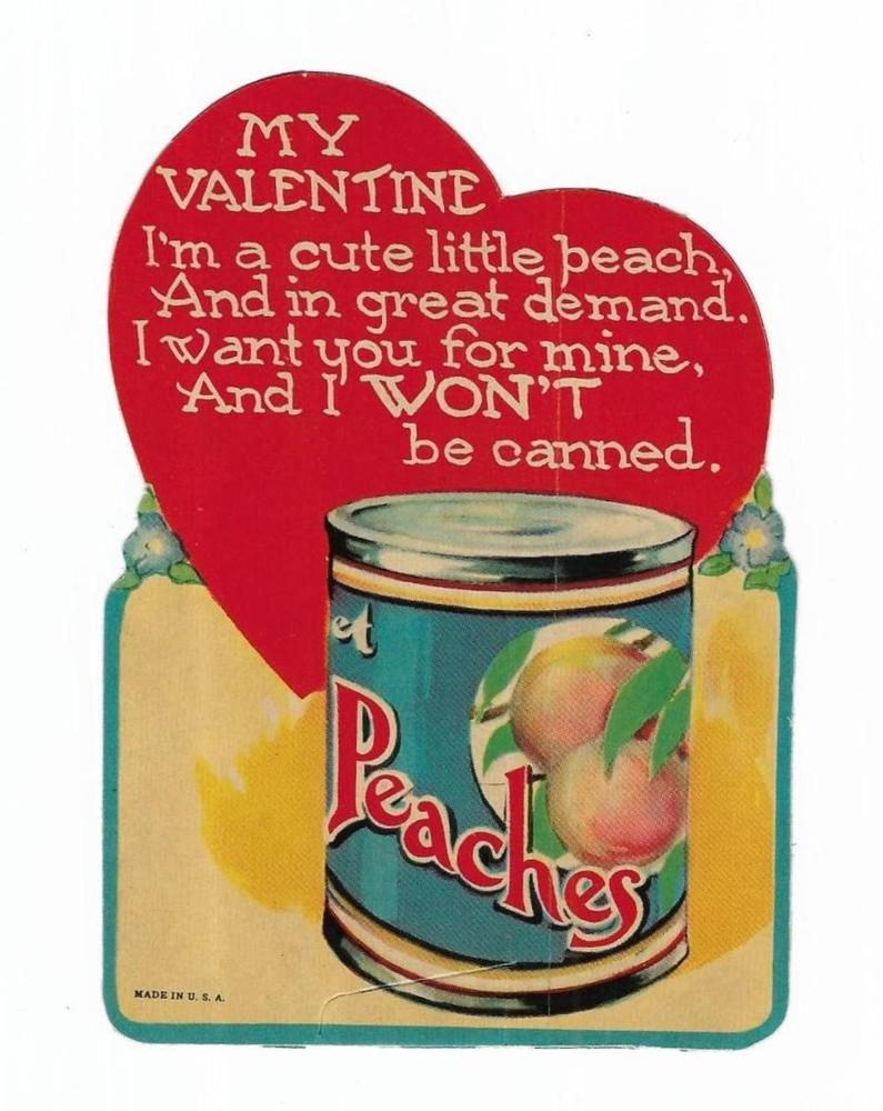 Vintage valentines greeting card little peach wants you peaches can vintage valentines greeting card little peach wants you peaches can used die cut kristyandbryce Image collections