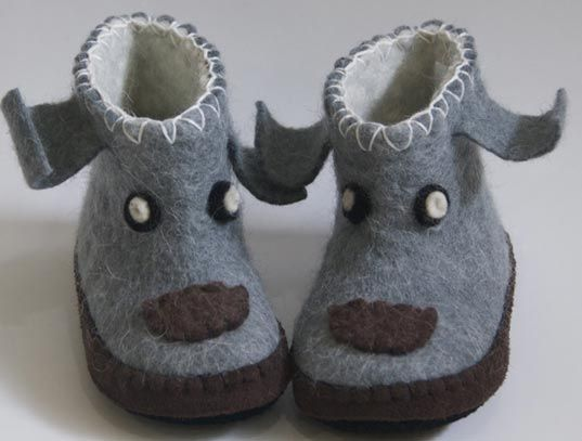 Tots Put Their Best Foot Forward in Fair Trade, 100% Wool Slippers from Satch. Cute little yaks!