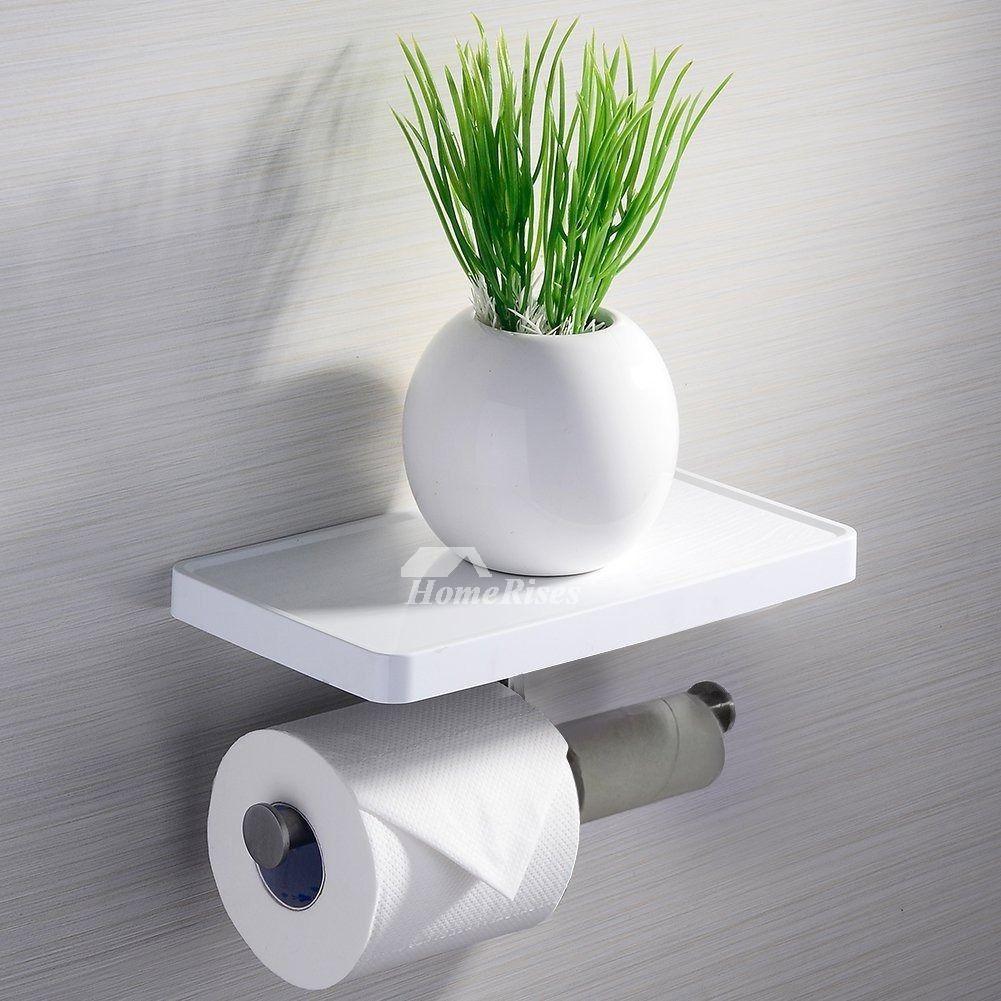Modern White Toilet Paper Holder With Shelf Bathroom Towel Hook Unique Toilet Paper Holder Toilet Paper Holder Diy Toilet Paper Holder