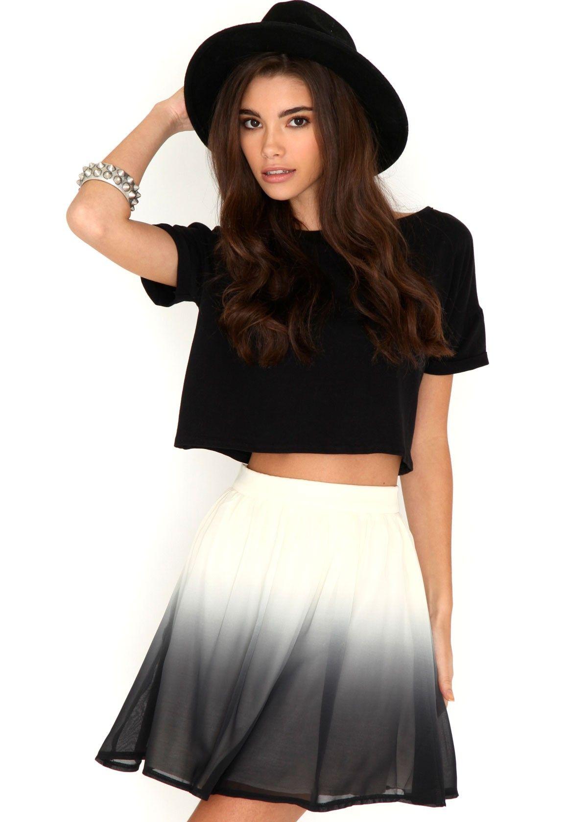 Priti Ombre Skater Skirt In Black
