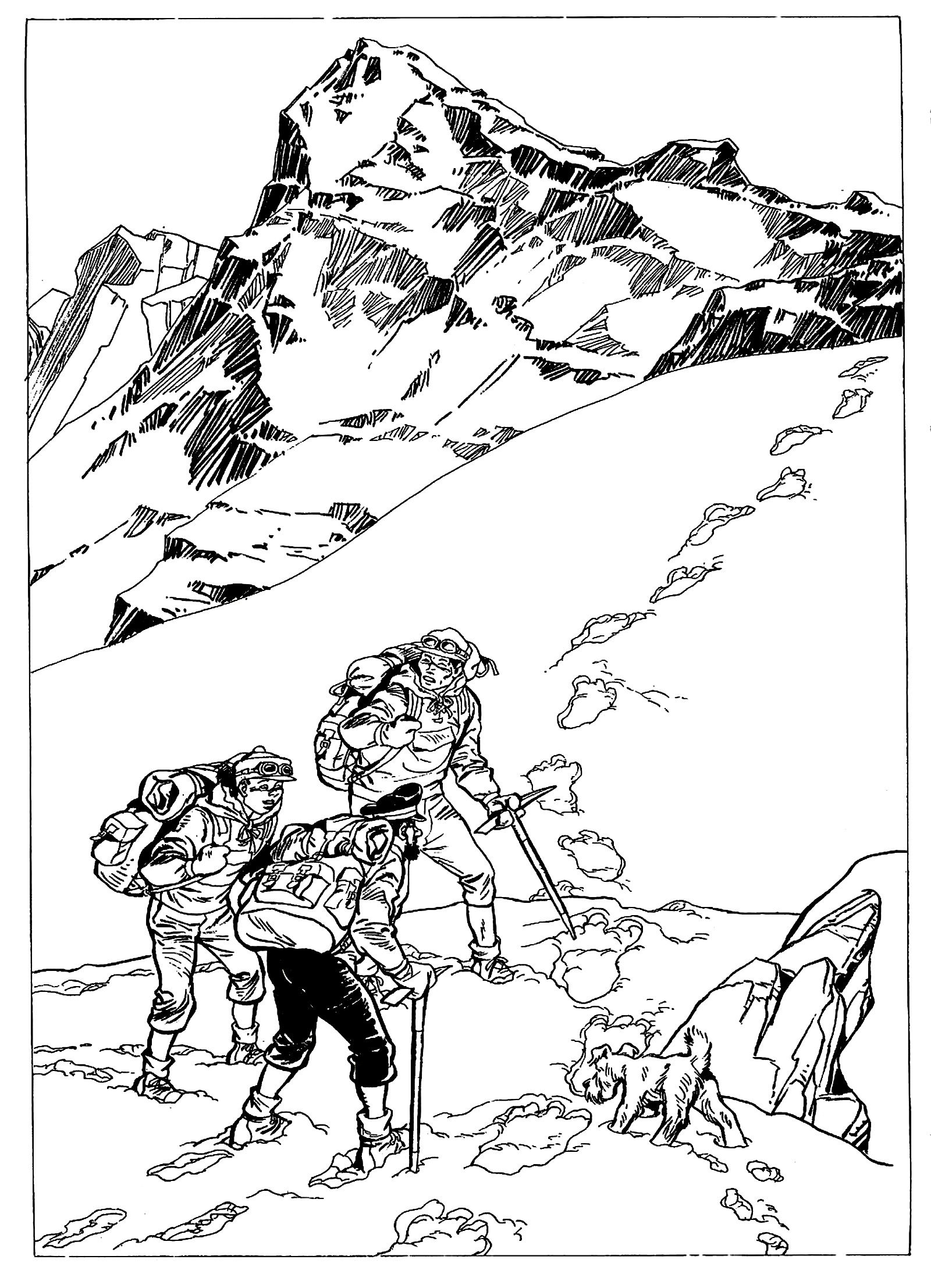 free coloring page coloring drawing inspired by de tintin in tibet Tibet Town free coloring page coloring drawing inspired by de tintin in tibet by derib drawing by derib inspired by tintin in tibet