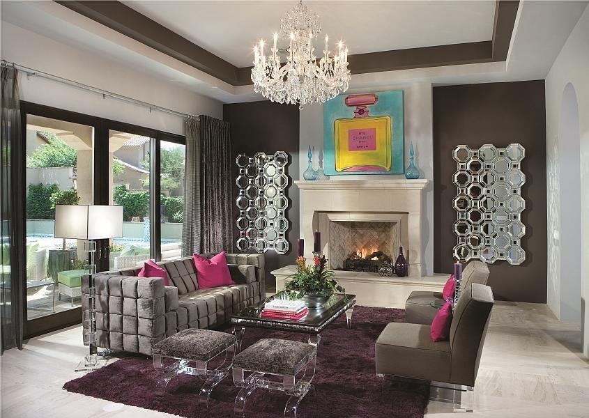 Eclectic Living Room With Carpet, Cement Fireplace, Axis Floor Mirror,  Chandelier, Ethan Allen Crystal Blocks Floor Lamp Photo Gallery