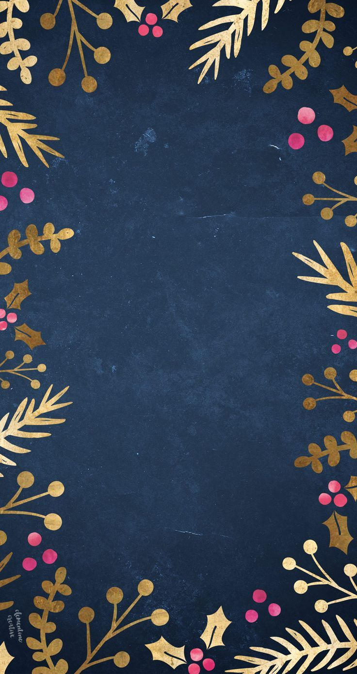 Free Festive Wallpaper Gold Foil Foliage Christmas