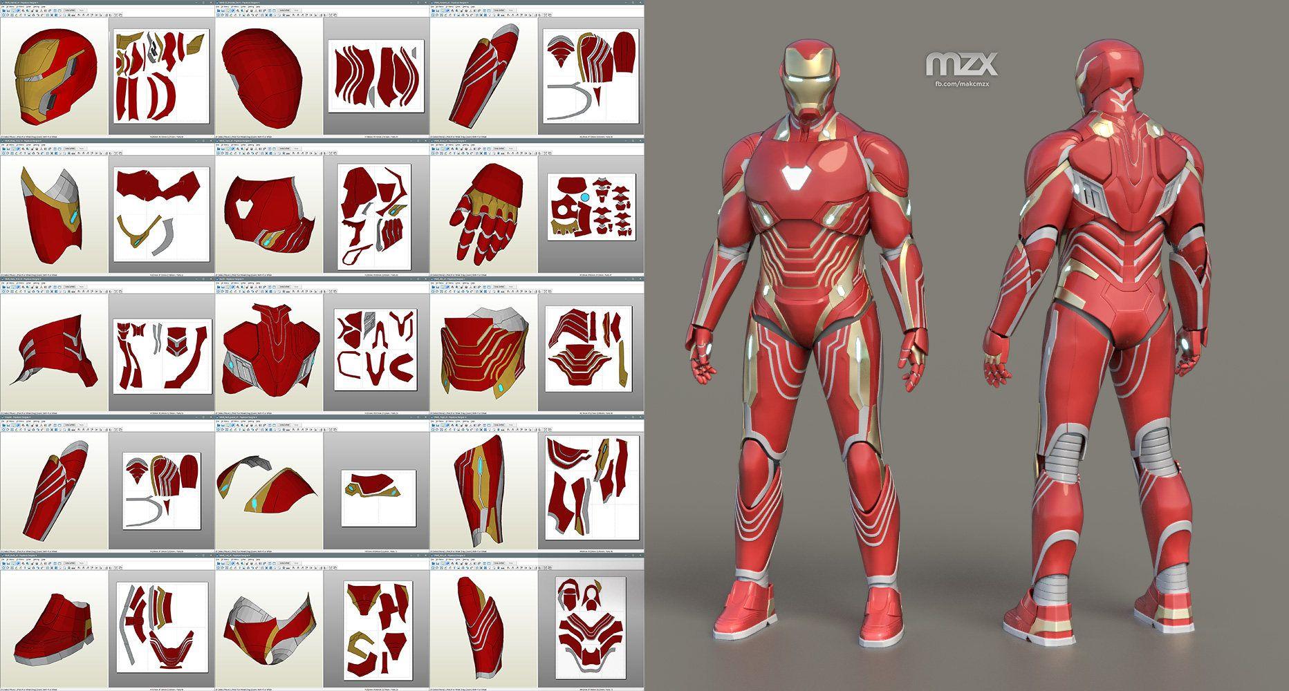 mark 48 infinity war model, pattern for make wearable suit, diy