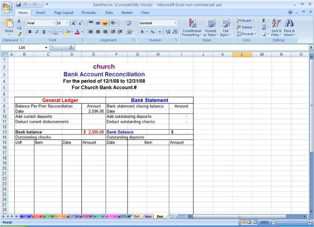 Bank Reconciliation Spreadsheet Microsoft Excel – Bank Reconciliation Form