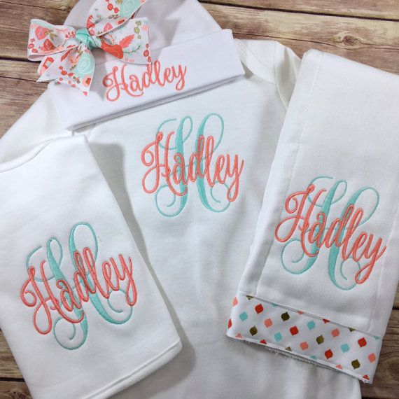 Photo of Personalized Take Home Outfit, Monogram Baby Gown Hat, Newborn Girl Outfit, Baby Girl Coming Home Outfit, Baby Shower Gift Baby Shower Gift