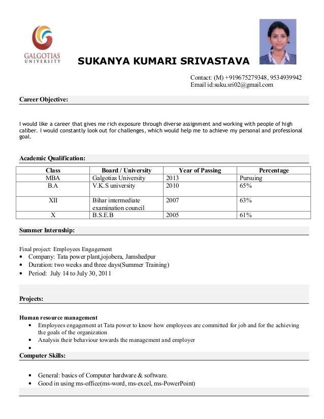 SUKANYA KUMARI SRIVASTAVA Contact (M) +919675279348, RESUME2 - Job Resume Format Download