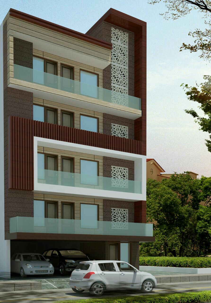 Proposed elevation at new delhi | Small house elevation ...