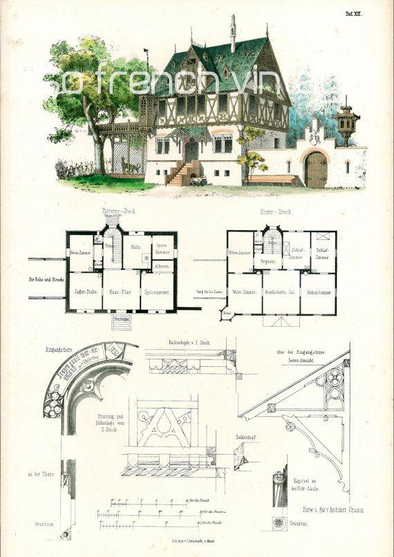 1854 Country house plans Architectural antique by sofrenchvintage - dessiner plan de maison