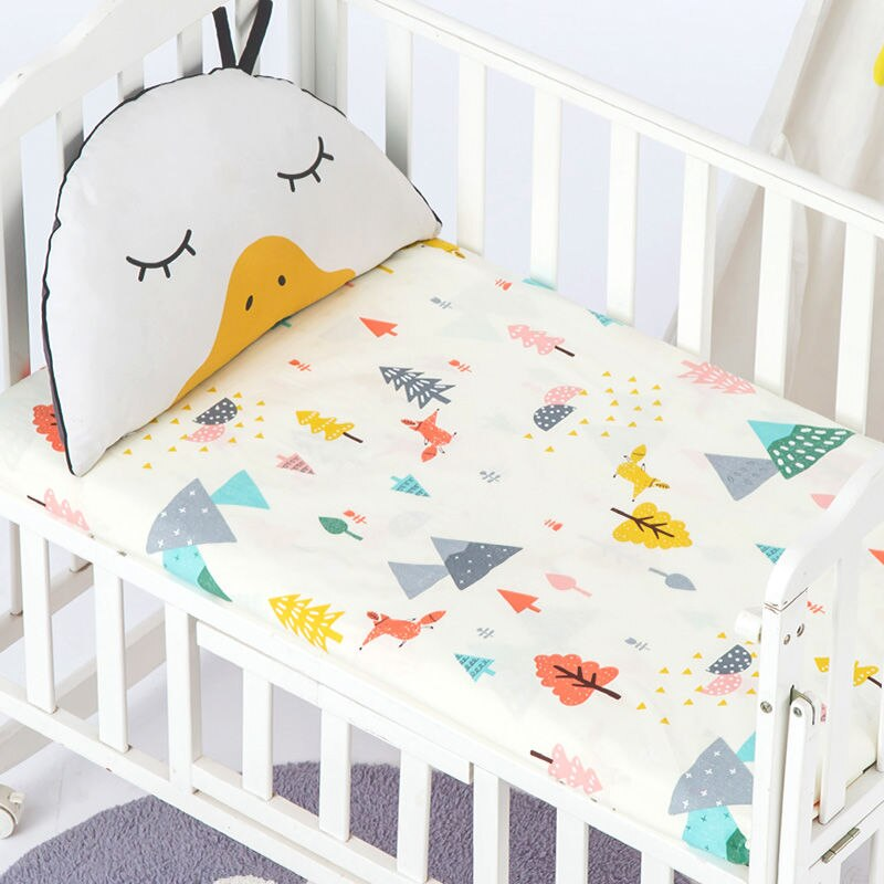 Summer Breathable Baby Sheet For Cot Mattress Cover No Fluorescence Cotton Crib Fitted Sheet Cartoon Printed Mini Fitted Sheets
