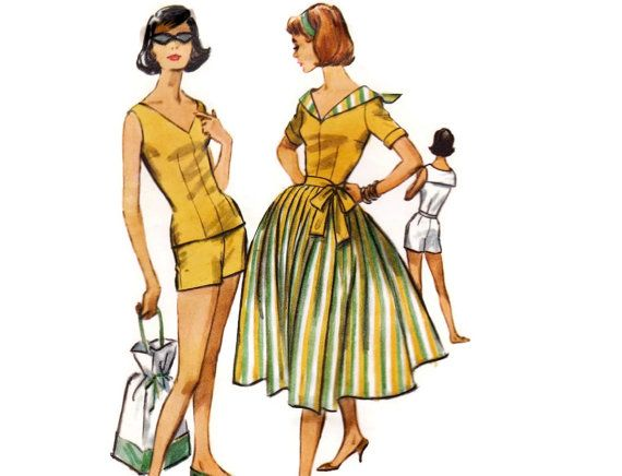 1950s Playsuit Pattern McCall's 4572, Dart Fitted Blouse, High Waist Shorts, Full Pleated Skirt, 1958 Vintage Sewing Pattern, Bust 32