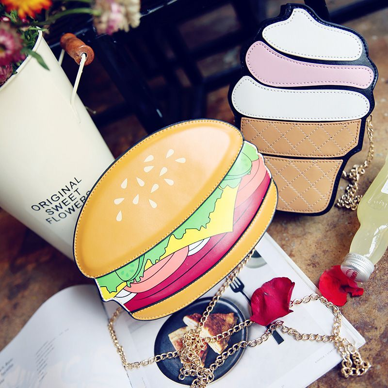 68b053e11b 200pcs lot Fashion Cute Women Cupcake Ice Cream Fruit Shape Cartoon Bags  Chain PU Leather. Cartoon BagHamburgerIce ...