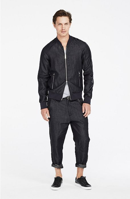 Linen Blend Bomber Jacket : Jackets & Outerwear by Armani Exchange