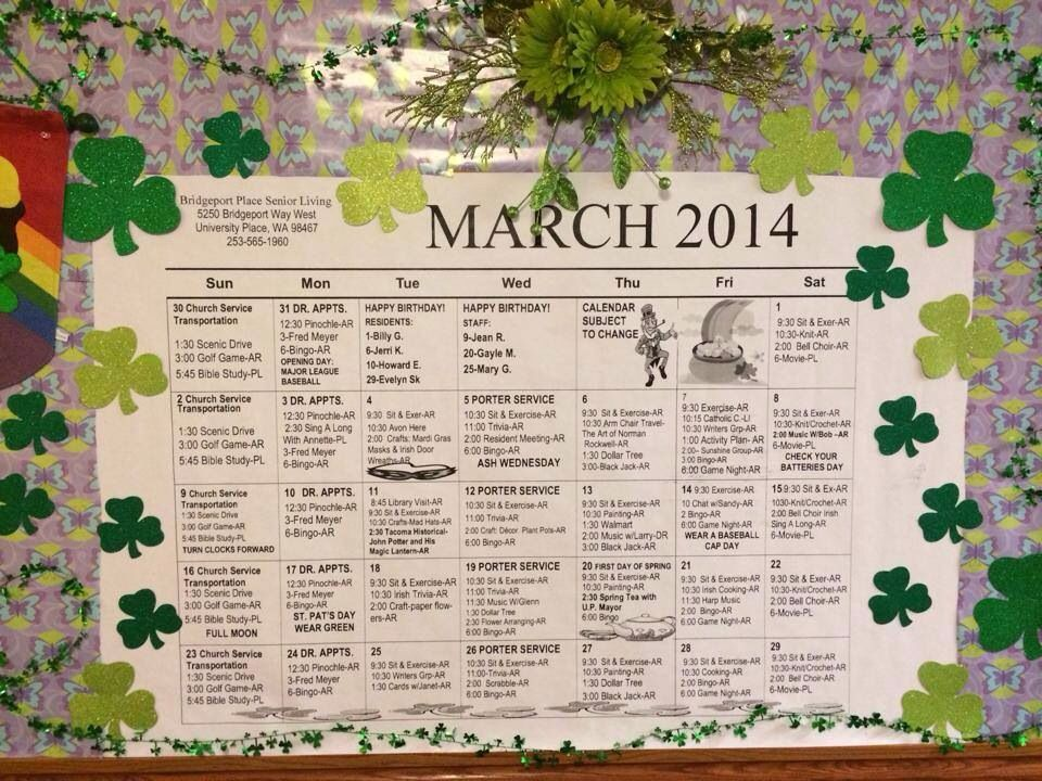 March  Activities At Bridgeport Place A Senior Living