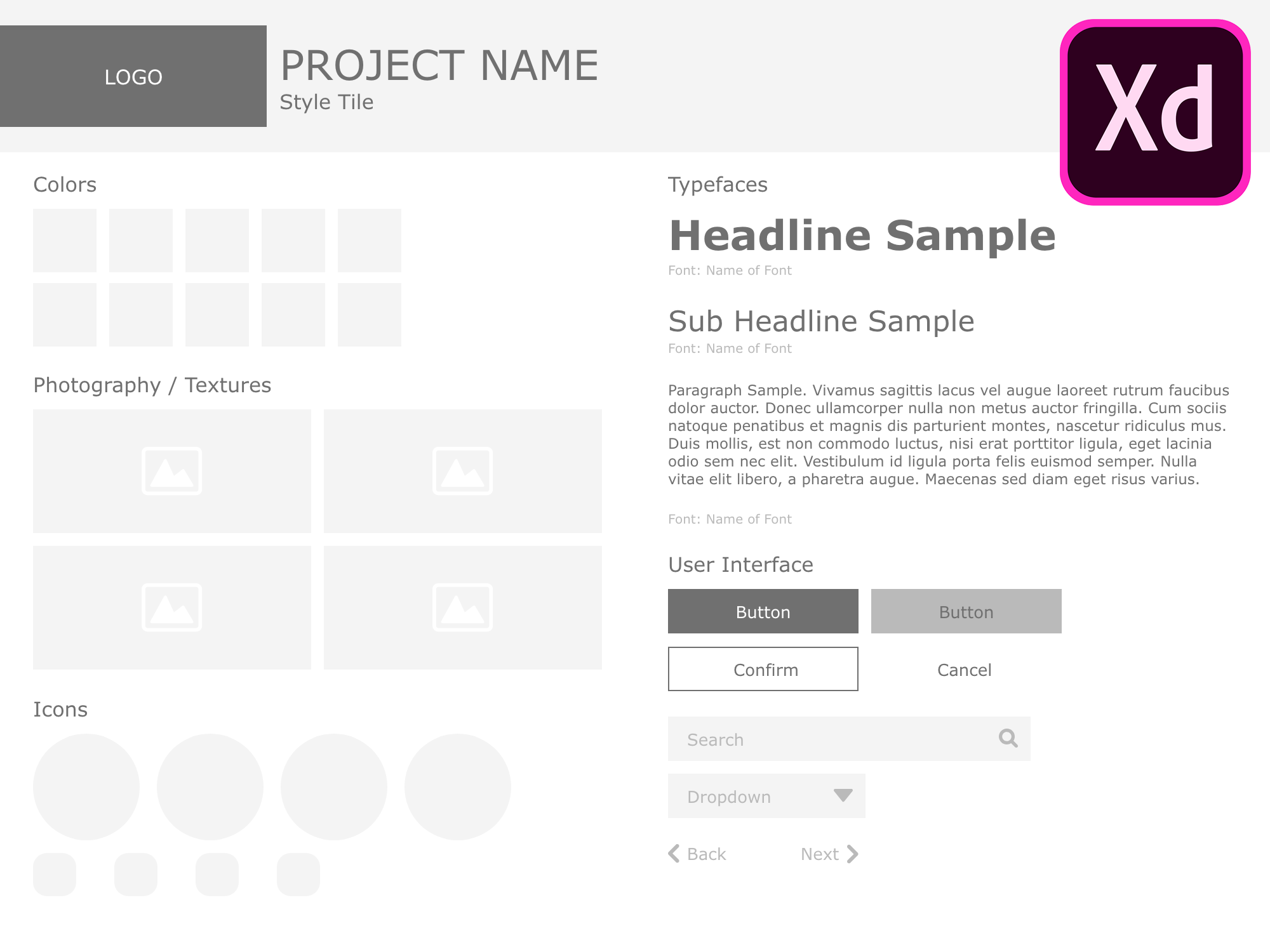 Style Tile Template Adobe XD