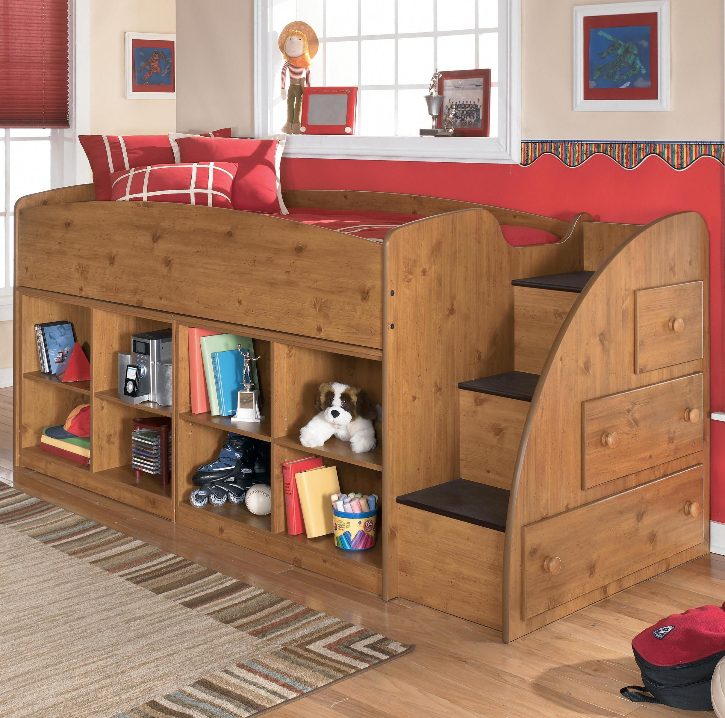 Stages Twin Loft Bed With Right Storage Steps And Bookcases By Signature Design By Ashley Ryan