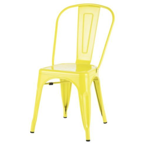 Marseille Metal Dining Chair Sulphur Yellow Metal Dining Chairs